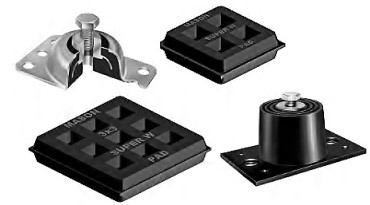 Mason Rubber and pad vibration isolation mounts